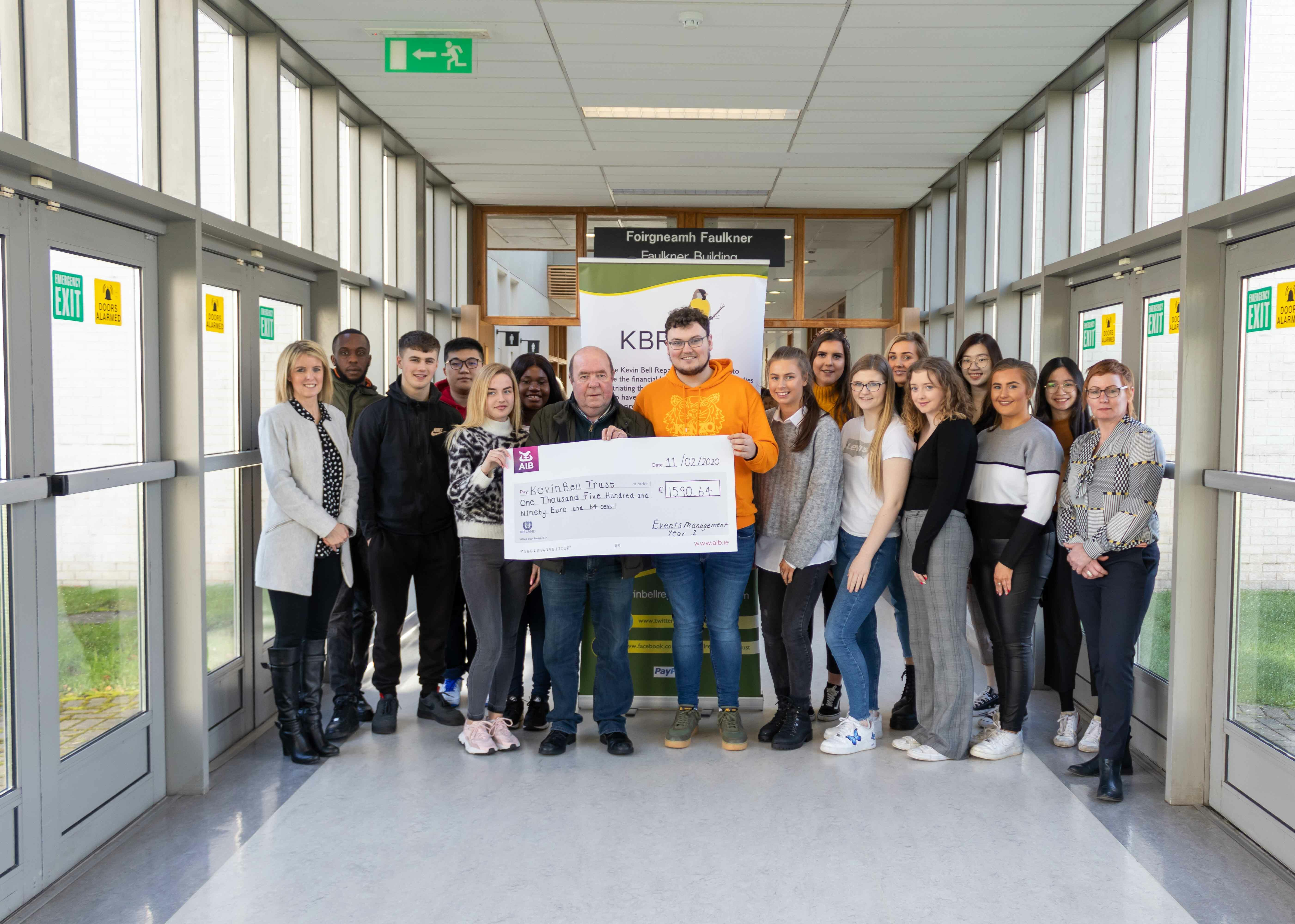 First Year Bachelor of Arts Event Management Students Raise €1590 For The KBRT