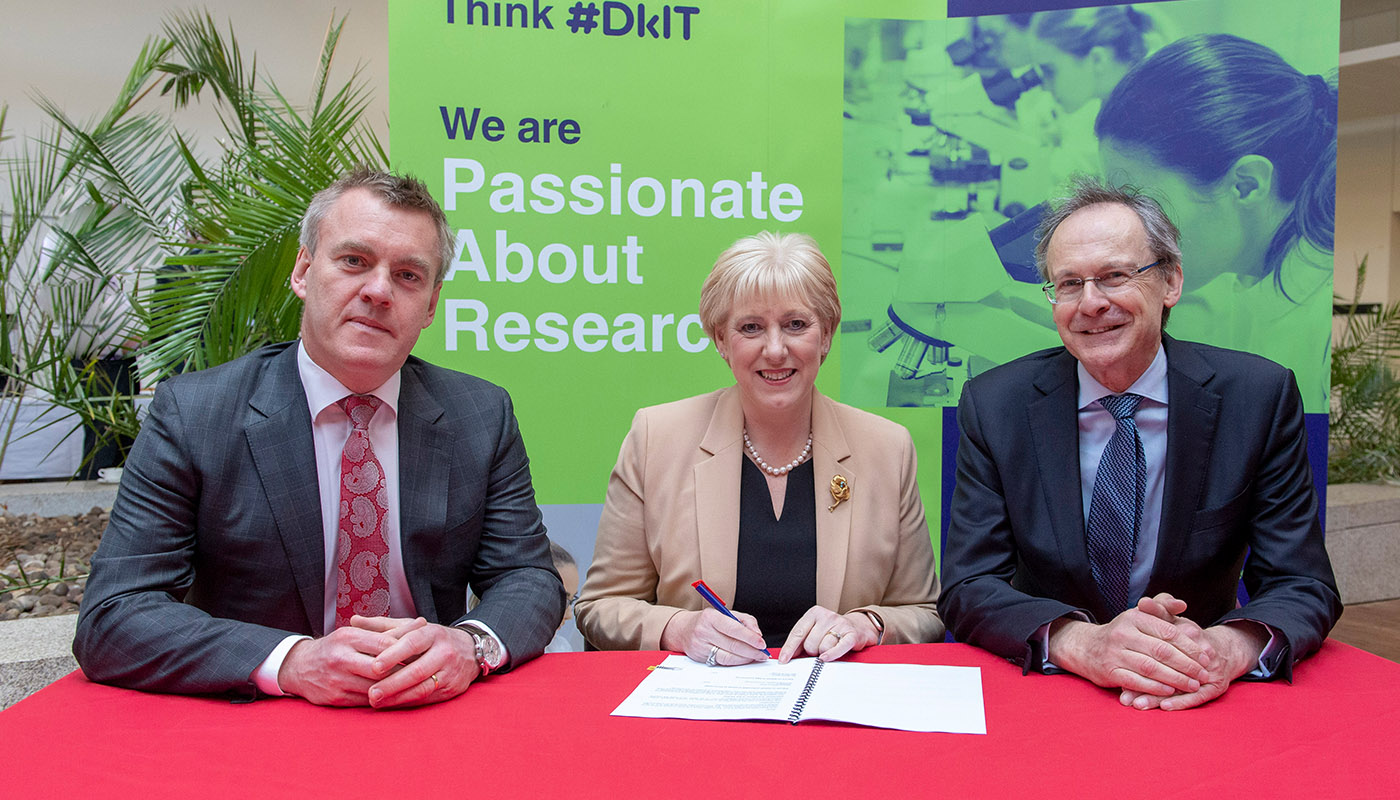 Pictured (from left) are Martin Kane, CEO of ABP Food Ireland , Minister Heather Humphreys, TD and DkIT President, Michael Mulvey PhD at the signing of new Corporate Partnership