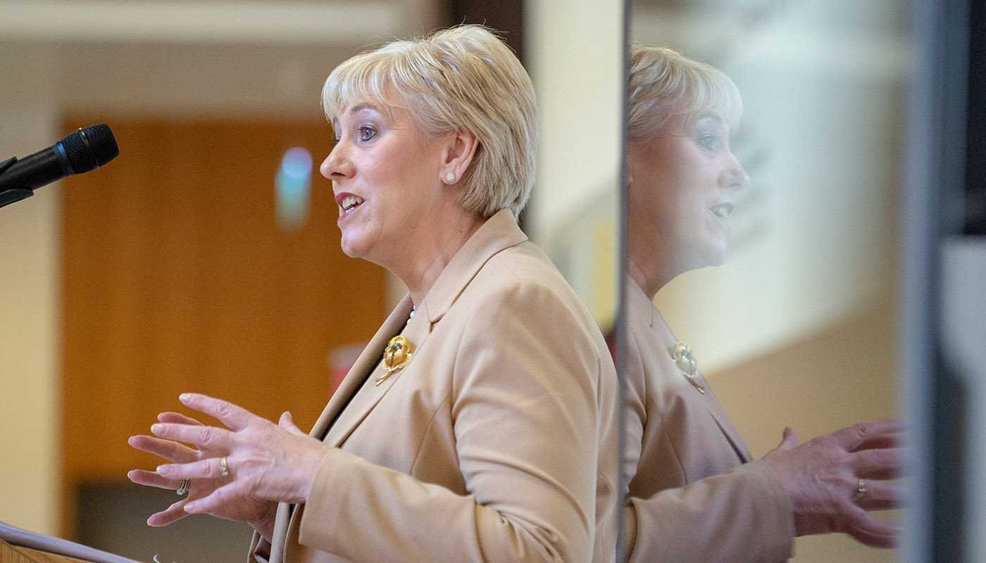 Minister Heather Humphreys, TD delivers welcome address at the DkIT Industry Showcase 2019