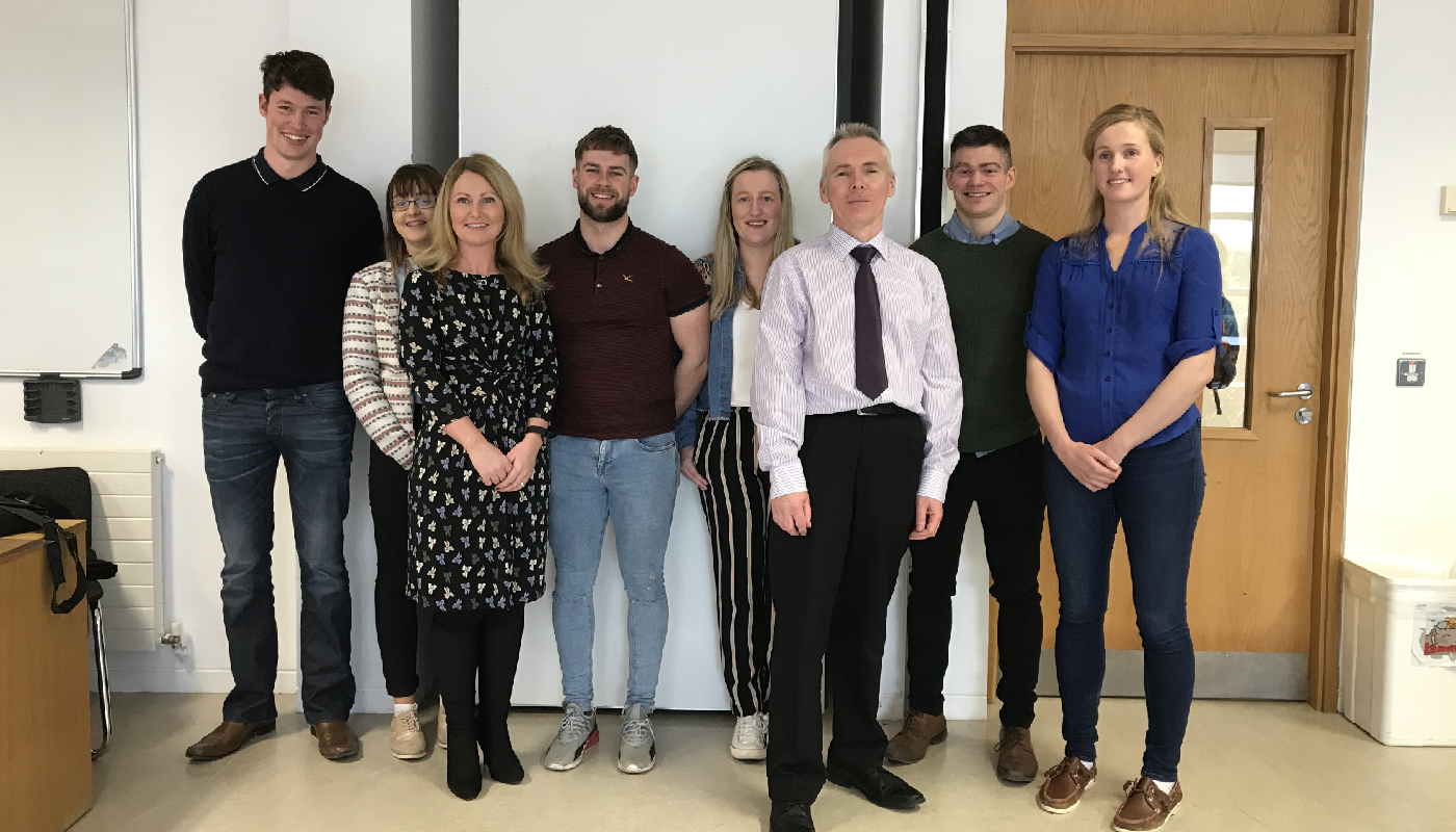 (L-R) Stephen O'Reilly, Aileen McGahon, Dr Suzanne Linnane (Lecturer), Ian Kilcoyne, Sarah Smith, Eamon Mullen (Lecturer), Cathal Conaty, Katie Quinlan.