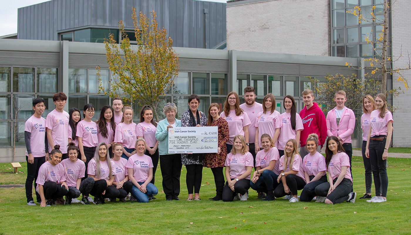 3rd Year Events Management students present a €1500 cheque to The Irish Cancer Society as part of fundraising efforts