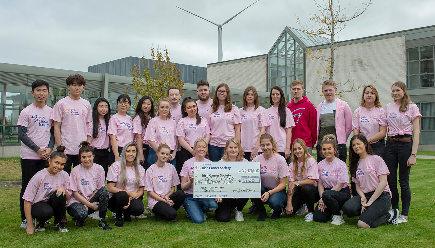3rd Year Events Management students raise €1500 for The Irish Cancer Society as part live student project