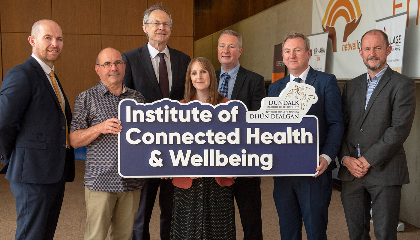 Pictured (L-R) are Aidan Browne (DkIT), Dr Keith Thornbury (SMRC), Michael Mulvey PhD (DkIT President), Dr Julie Doyle (Netwell/Casala), Dr Fergal McCaffrey (RSRC), Aidan McKenna (Enterprise Ireland) and Dr Tim McCormac (DkIT) at the launch of new DkIT Institute of Connected Health & Wellbeing. (Photo: Ciara Wilkinson)