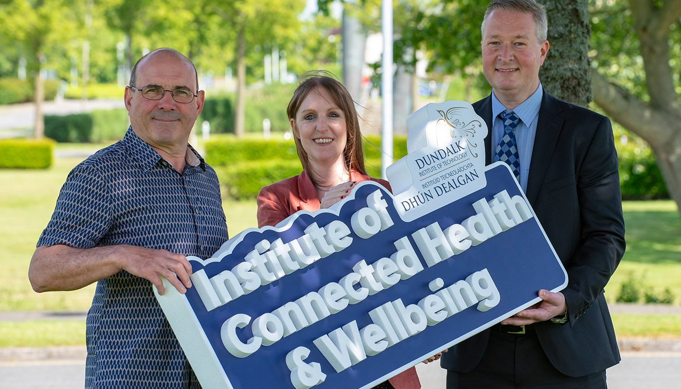 Pictured (L-R) Dr Keith Thornbury (Smooth Muscle Research Centre) at DkIT), Dr Julie Doyle (Netwell/Casala) and Dr Fergal McCaffrey (Regulated Software Research Centre), at the launch of the new DkIT Institute of Connected Health & Wellbeing. (Photo: Ciara Wilkinson)