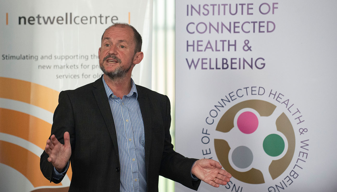 Dr Tim McCormac, Head of Research & Graduate Studies at DkIT at the launch of the new DkIT Institute of Connected Health & Wellbeing. (Photo: Ciara Wilkinson)