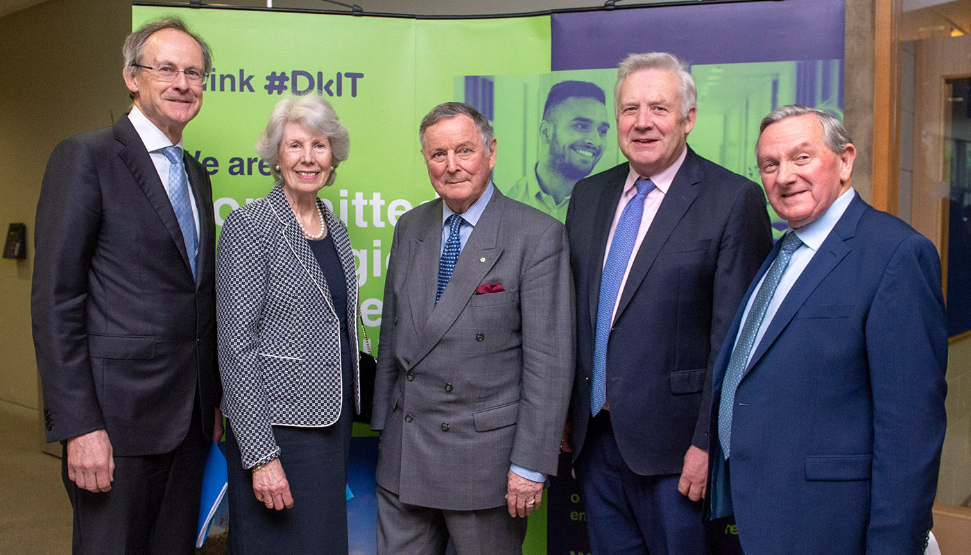 Michael Mulvey, PhD, DkIT President, MaryAnn de Chastelain, General John de Chastelain, Fergus O'Dowd, TD and Cllr. Clifford Kelly pictured at the de Chastelain Library Civic Reception at DkIT