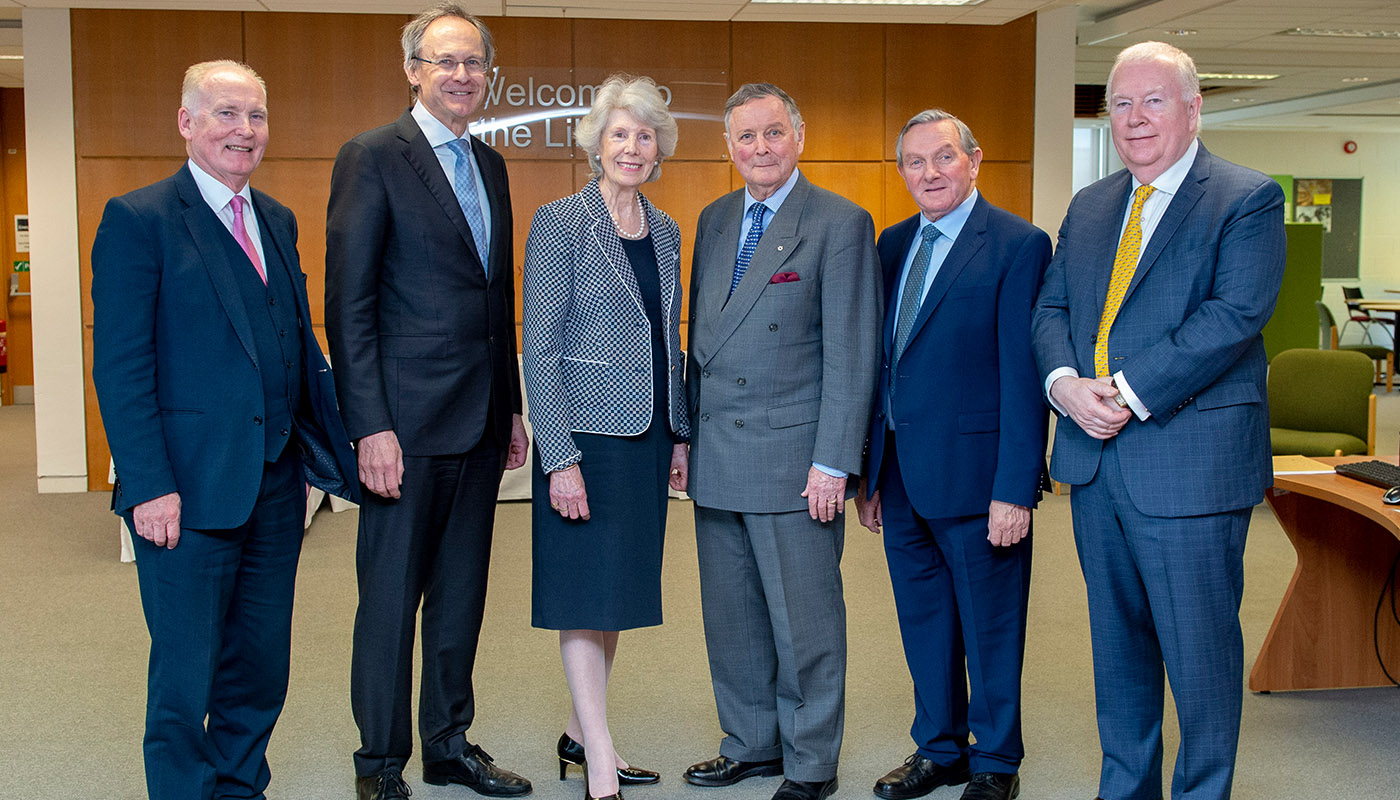 Tim O'Connor, Michael Mulvey, PhD (DkIT), MaryAnn de Chastelain, General John de Chastelain, Cllr. Clifford Kelly, Robert G Kearns (Ireland Part Foundation) pictured at the de Chastelain Library Civic Reception