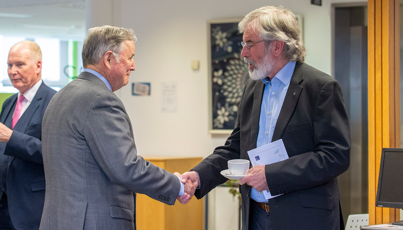 General John de Chastelain meet with Gerry Adams, TD at the de Chastelain Library Civic Reception