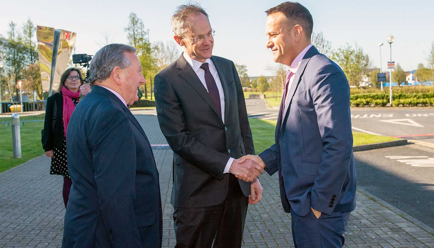 DkIT President, Dr. Michael Mulvey greets An Taoiseach, Leo Varadkar TD at the All Island Civic Dialogue on Brexit in DkIT, 30th April 2018 alongside DkIT Governing Body Chair, Cllr Clifford Kelly.