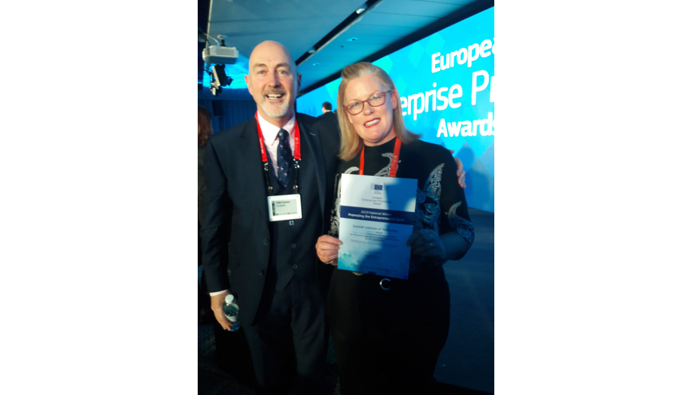 DkIT Business Lecturer, Angela Hamouda collects the European Enterprise Promotion Awards 2019 in recognition of the institute's work in 'Creating Entrepreneurial Spirit'