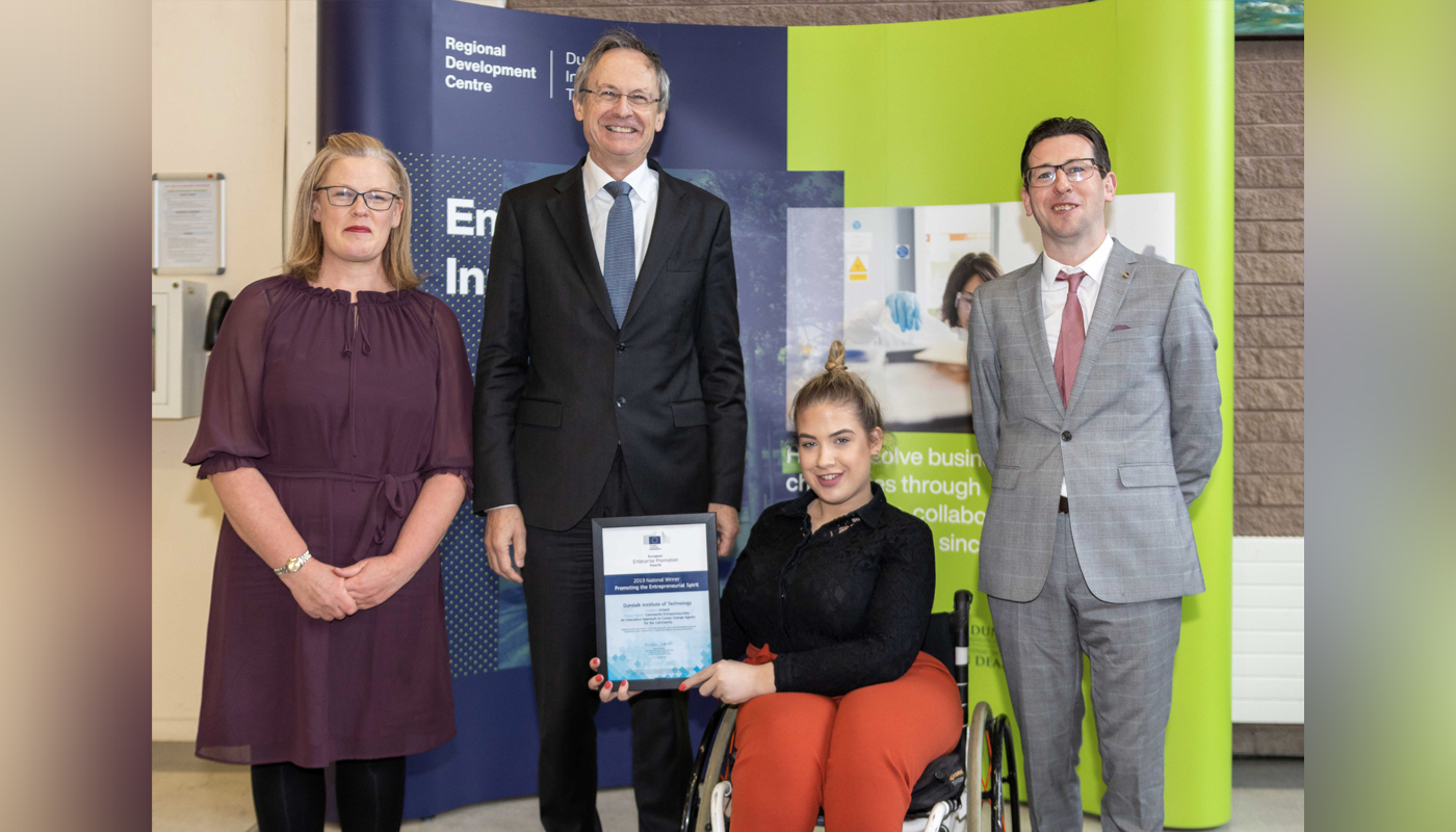 DkIT Lecturer, Angela Hamouda, DkIT President Michael Mulvey, PhD, DkIT Community Youth Work Students with the European Enterprise Promotion Awards 2019