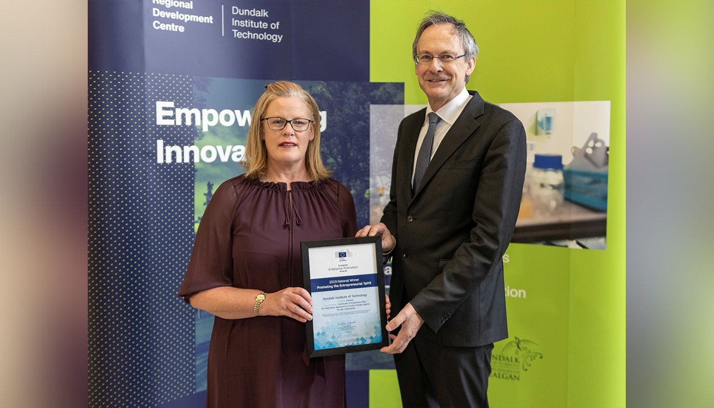 DkIT Lecturer, Angela Hamouda and DkIT President, Michael Mulvey, PhD; with the European Enterprise Promotion Awards 2019