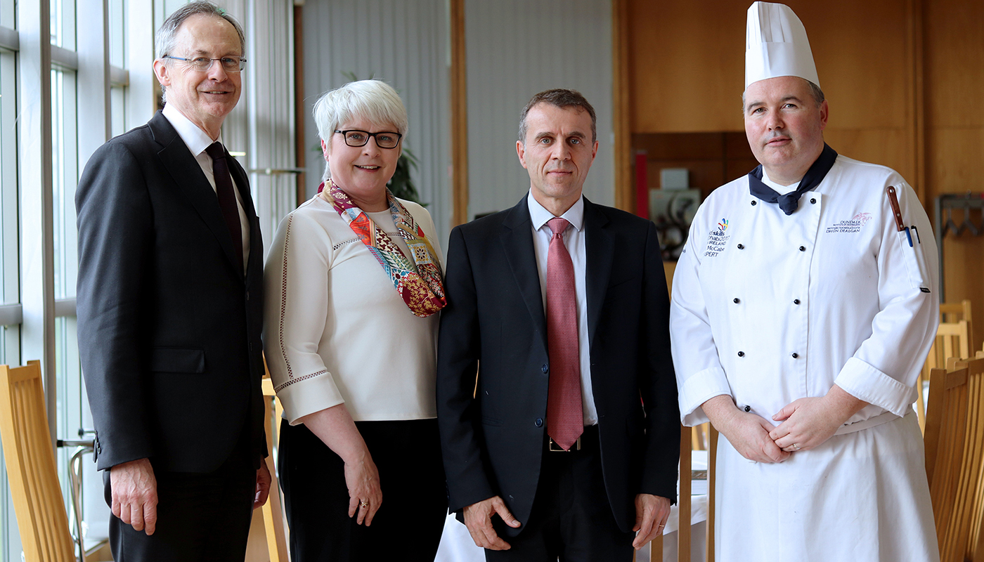 Pictured [from left to right] are Michael Mulvey, PhD, DkIT President; Brainain Erraught, Head of Department of Hospitality Studies, DkIT; Stéphane Crouzat, French Ambassador to Ireland and Alan McCabe, Culinary Arts Programme Director, DkIT at the Good France-Ireland event in DkIT.