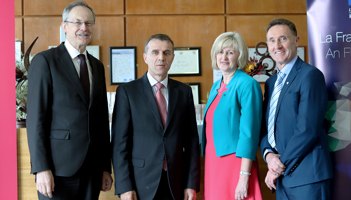 Pictured [from left to right] are Michael Mulvey, PhD, DkIT President; Stéphane Crouzat, French Ambassador to Ireland and Dr Sheila Flanagan, VP of Academic Affairs & Registrar, DkIT and Peter Fitzpatrick, TD at the Good France-Ireland event in DkIT.