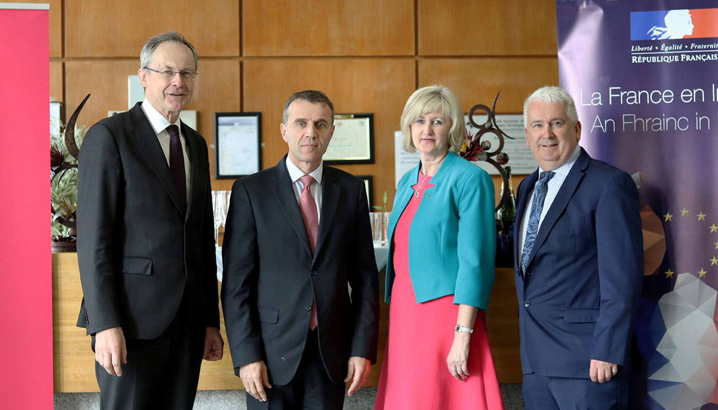 Pictured [from left to right] are Michael Mulvey, PhD, DkIT President; Stéphane Crouzat, French Ambassador to Ireland and Dr Sheila Flanagan, VP of Academic Affairs & Registrar, DkIT and Declan Breathnach TD at the Good France-Ireland event in DkIT.