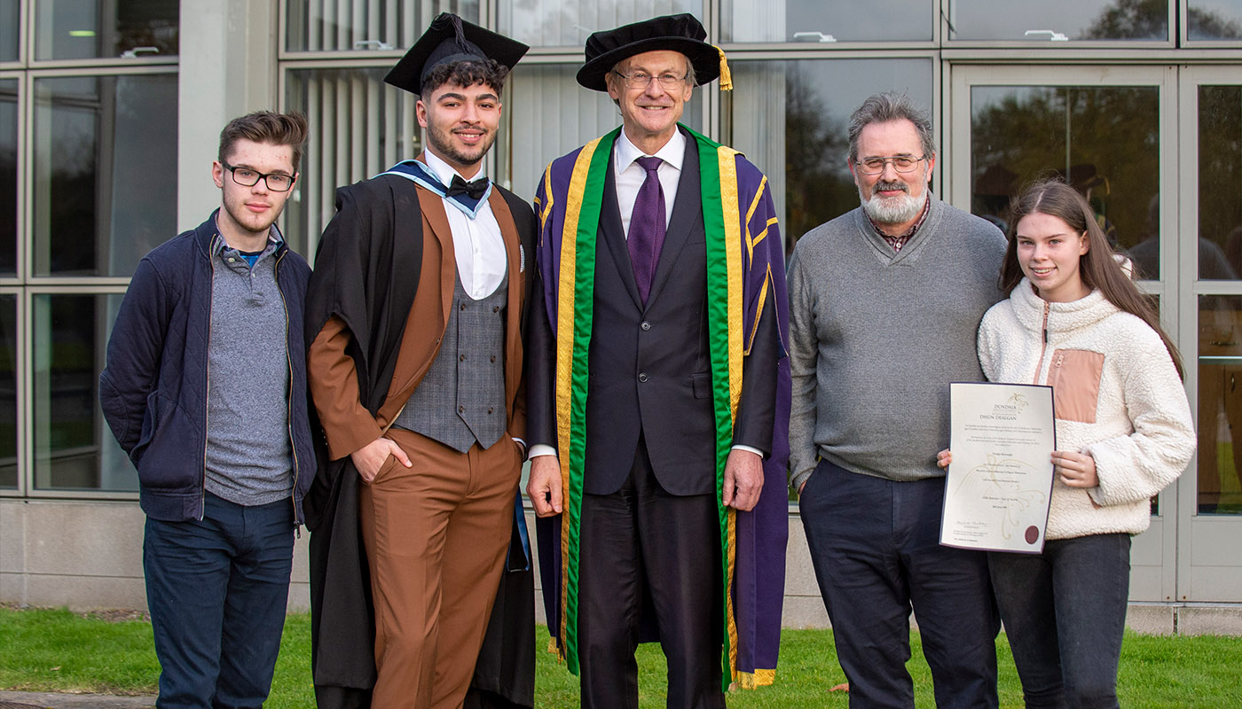 Taidgh Kavanagh, DkIT SU VP of Welfare and Equality from Drogheda, Co Louth receives his BA (Hons) in Digital Humanities Award at DkIT Graduation 2019, pictured with DkIT President, Michael Mulvey, PhD and his family.