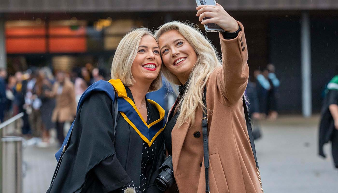 •	Hannah Nicklin from Enniscorthy, Co Wexford graduated with a BSc (Hons) in Psychiatric Nursing at DkIT, pictured with her sister Jenna Doran at DkIT Graduation 2019.