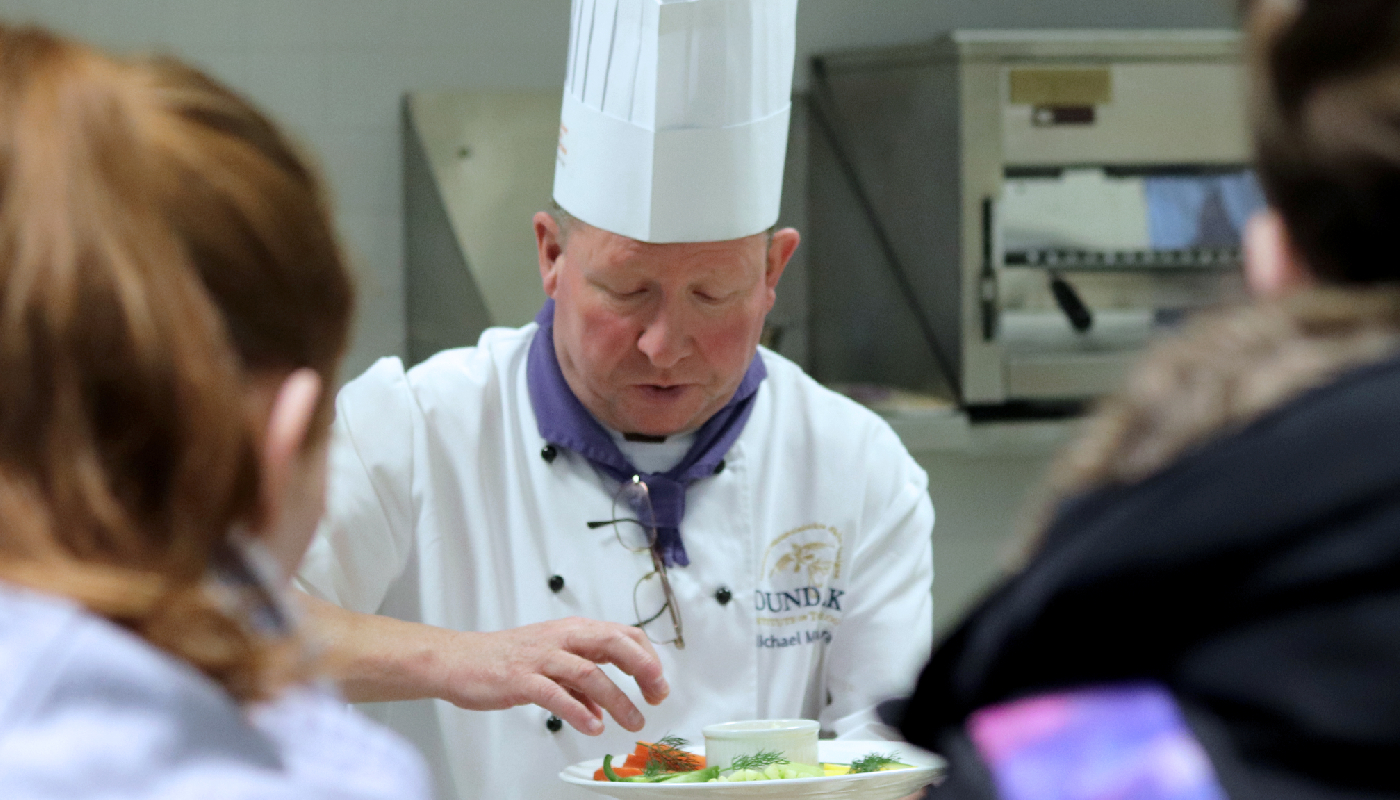 DkIT's Lecturer in Culinary Arts; Michael Mc Namara demonstrating to students how to create tasty and healthy food!
