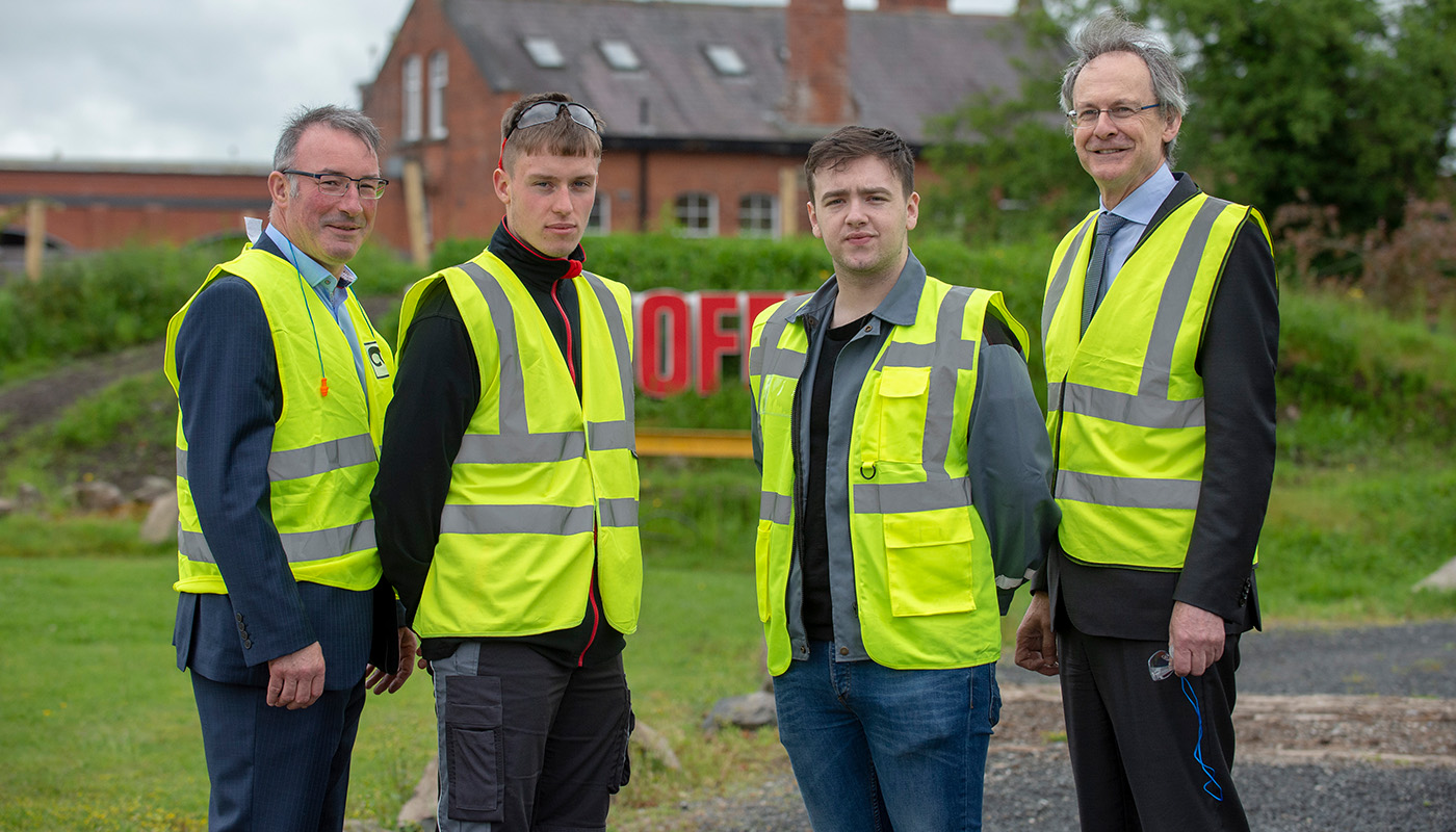 Pictured (L-R) are Paul Rogan, Director Business Control, TMFL Product Business, Matthew Quigley, Electrical Engineering (just finished second year) and Cameron McKeown, Marketing & Public Relations and DkIT President Michael Mulvey, PhD, at the launch of new DkIT-Cargotec Engineering Partnership Agreement in the Cargotec HQ in Dundalk. [Photo: Ciara Wilkinson]