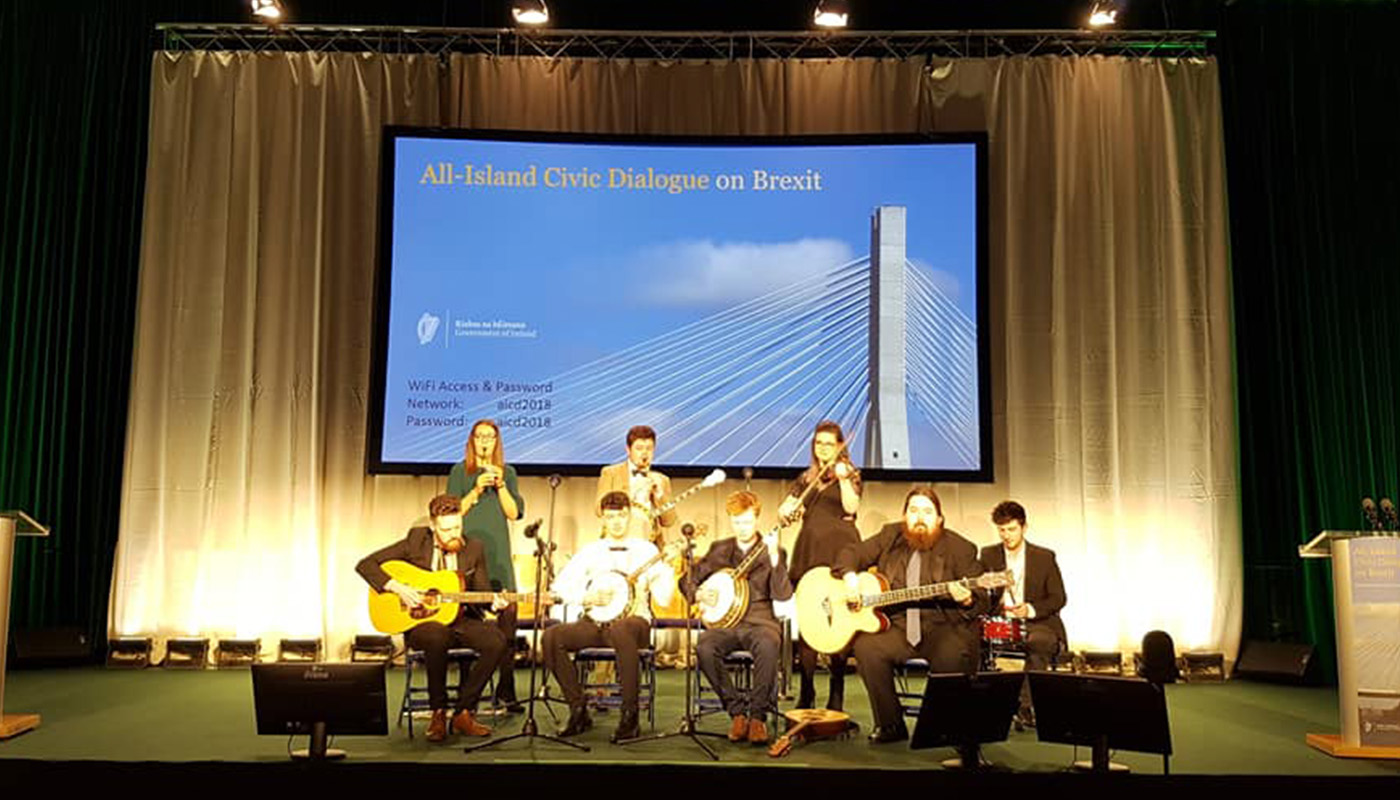 DkIT music students perform to audience of 500 delegate at the All Island Civic Dialogue on Brexit in DkIT, April 30th 2018