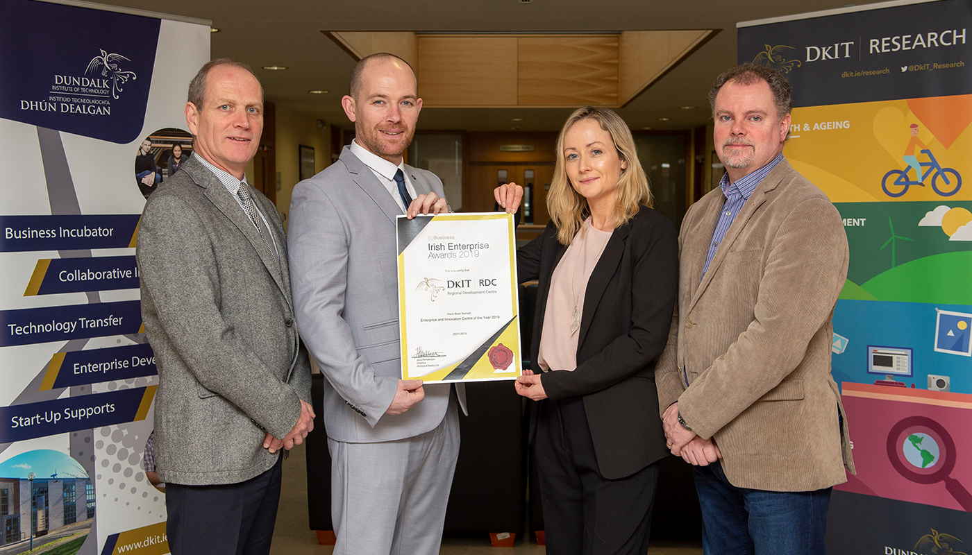 Pictured [from left] are: Neil McLoughlin, Technology Transfer Manager, RDC; Aidan Browne, Head of Innovation & Business Development, RDC; Martina Goss, Programme Manager New Frontiers Programme Manager; Garrett Duffy, Incubation Centre Manager.