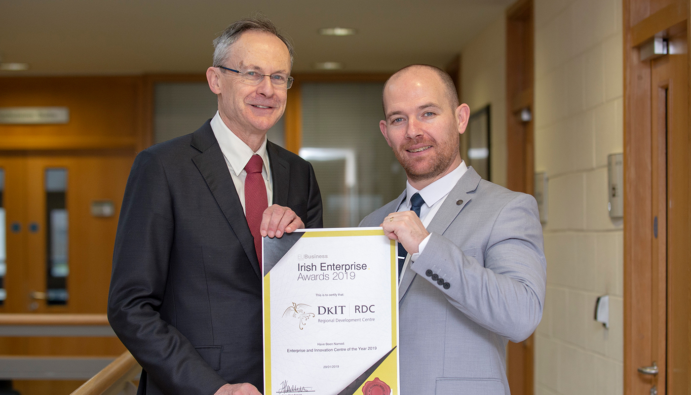 Pictured [from left] are: Michael Mulvey, PhD, DkIT President and Aidan Browne, Head of Innovation & Business Development, RDC.