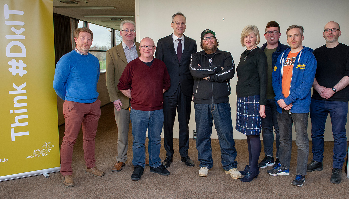 Hollywood Filmmaker, John Moore (centre) pictured with  DkIT President, Michael Mulvey, PhD and staff from the School of Informatics & Creative Arts during his recent visit to the Institute.