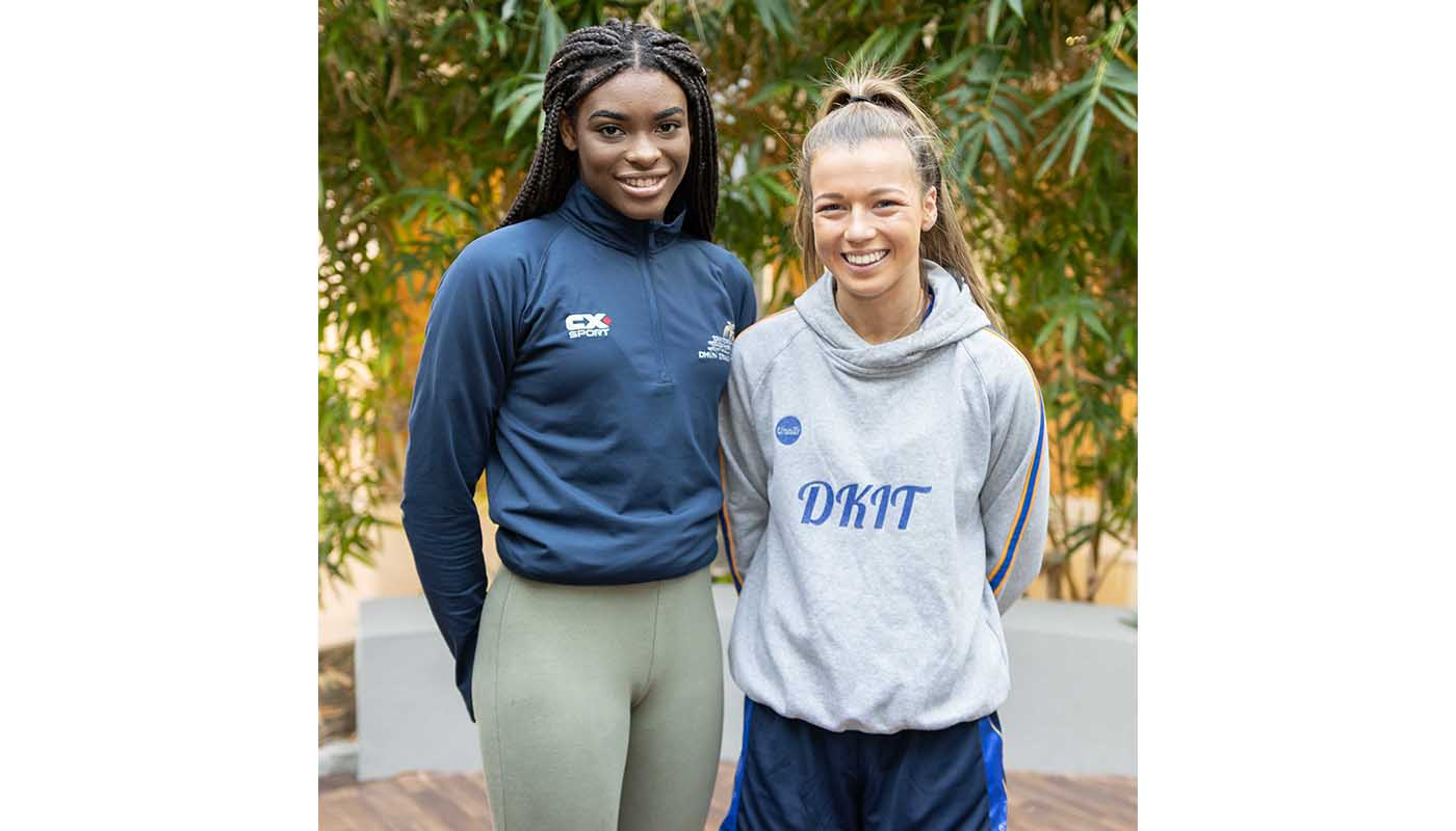 : DkIT Health & Physical Activity Students (from left) Evelyn Igharo and Katelyn O'Brien  Fly the Flag for Excellence in Ladies Sport with recent achievements.