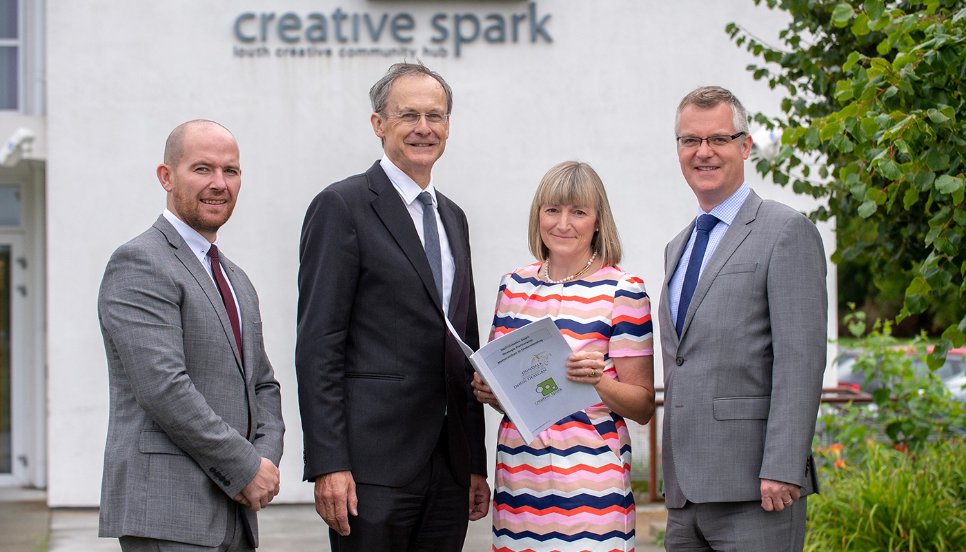 DkIT president Michael Mulvey and Aidan Browne, DkIT Head of Innovation & Business Development, pictured at Creative Spark offices, Dundalk