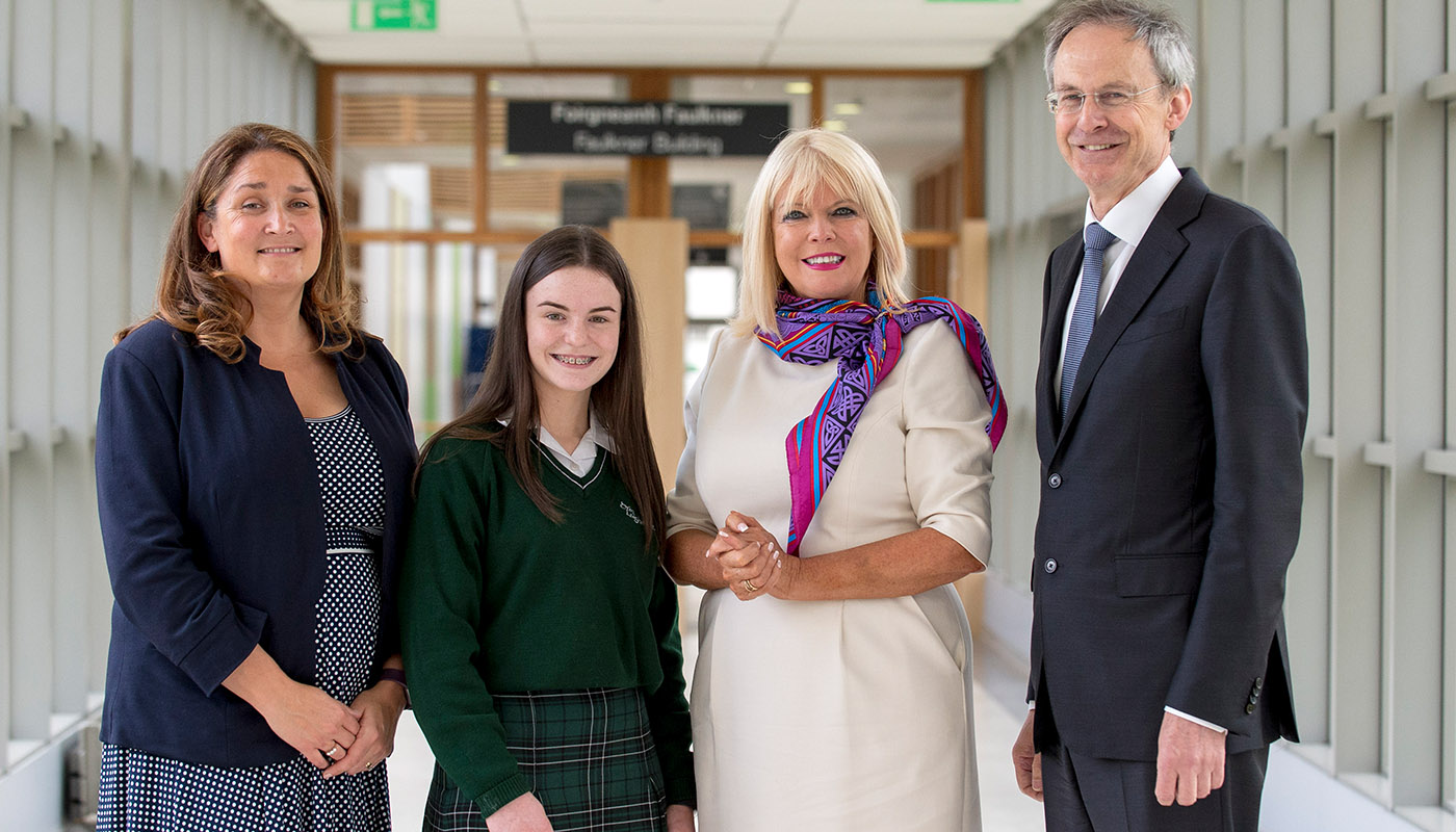 Minister Mary Mitchell O'Connor with DkIT President, Dr. Michel Mulvey, Acting Principal of St Louis Secondary School, Michelle Dolan and a student from St Louis Secondary School