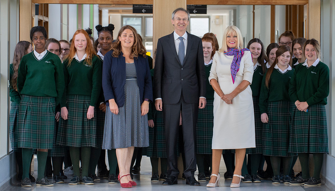 Minister Mary Mitchell O'Connor with DkIT President, Dr. Michel Mulvey, Acting Principal of St Louis Secondary School, Michelle Dolan and students from St Louis Secondary School