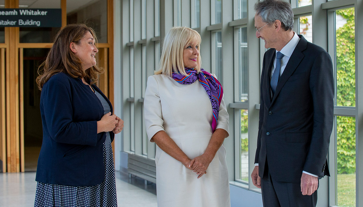 Minister Mary Mitchell O'Connor with DkIT President, Dr. Michel Mulvey and Acting Principal of St Louis Secondary School, Michelle Dolan