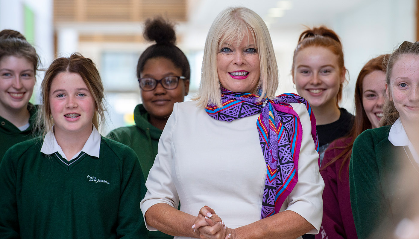 Minister Mary Mitchell O'Connor with students from St Louis Secondary School at DkIT