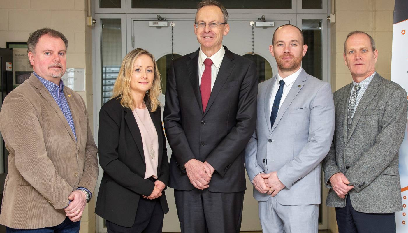 DkIT President, Michael Mulvey, PhD (centre) pictured alongside the management team at the Regional Development Centre at DkIT.