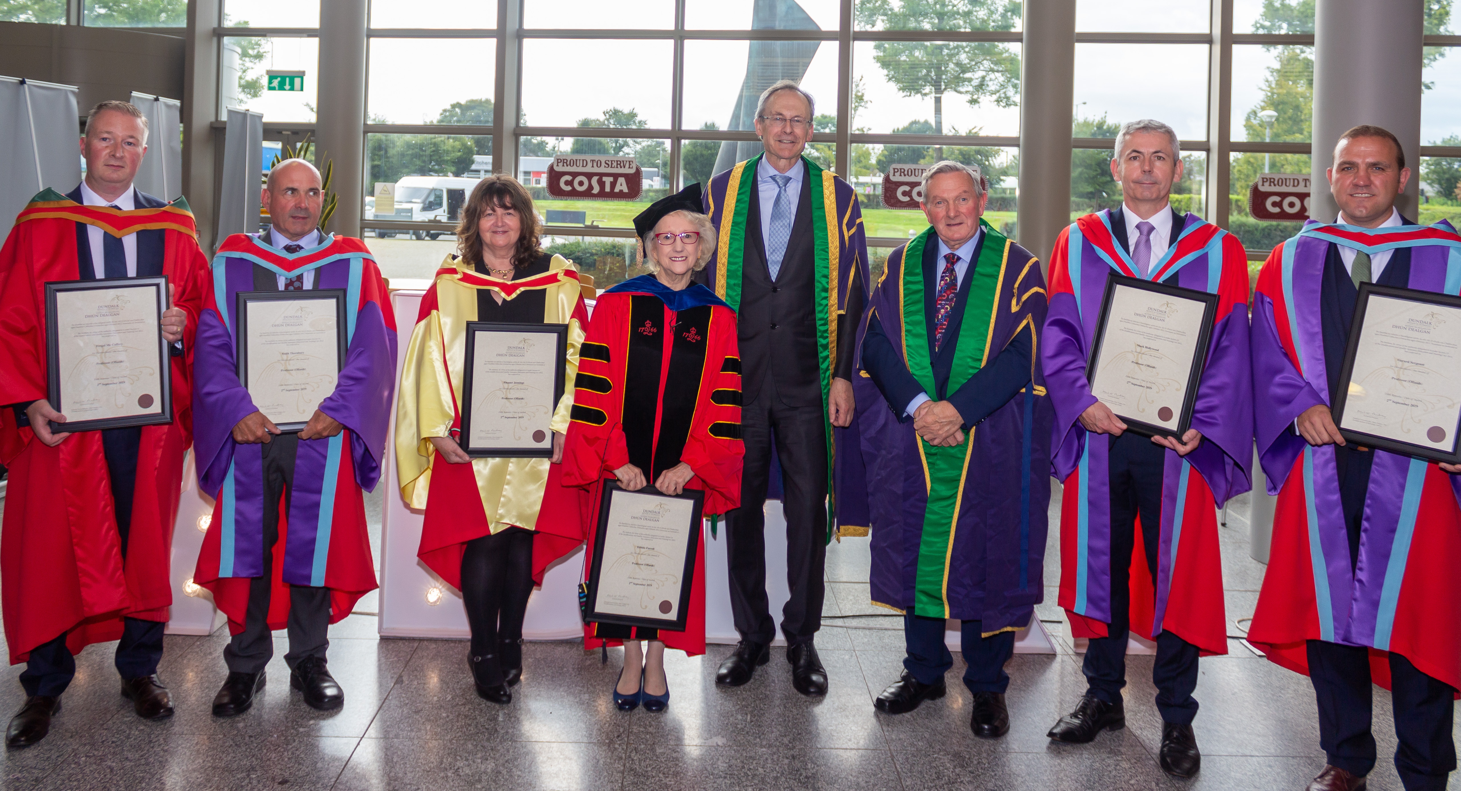 Congratulations to our six recently conferred Professors.  From left to right: Dr. Fergal Mc Caffery, Dr. Keith Thornbury, Dr. Eleanor Jennings, Dr. Eibhlis Farrell, Dr. Mark Hollywood and Dr. Gerard Sergeant.   Dr. Michael Mulvey and Clifford Kelly included