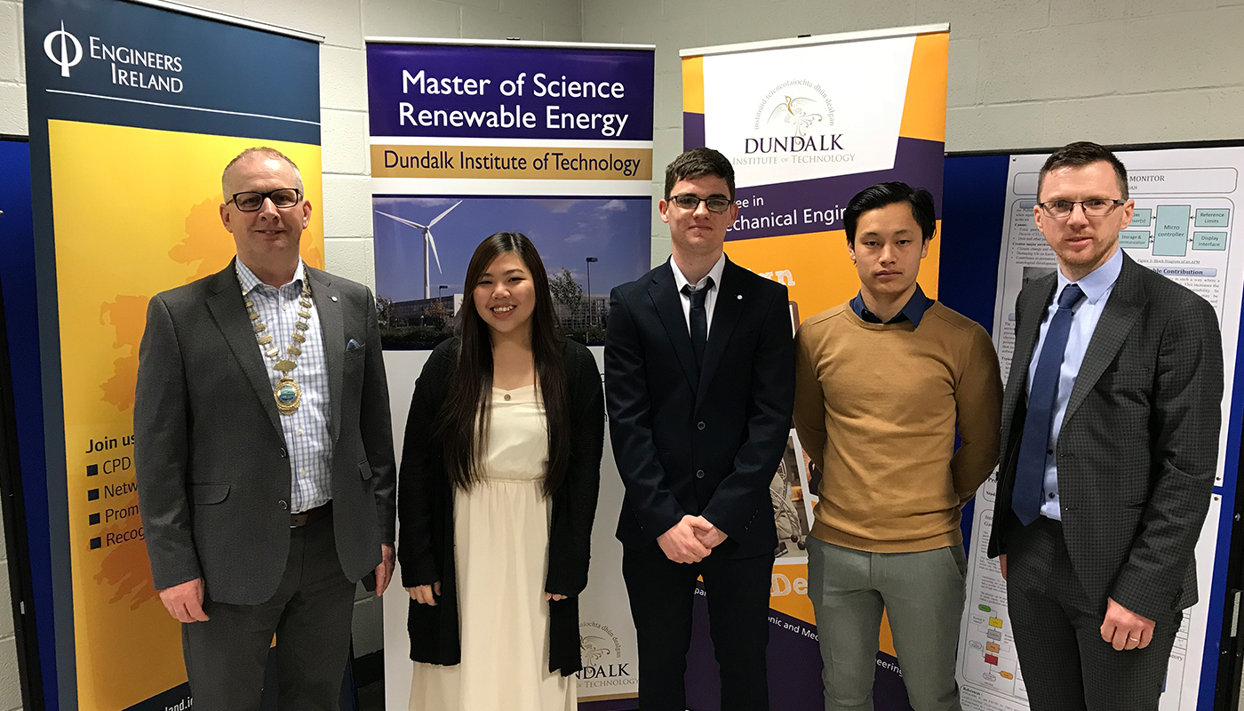 Pictured (L-R): Barry Hyland, Chairman of Engineer's Ireland North East region and Engineer with SQS, pictured with finalists and DkIT lecturer Gareth Kelly