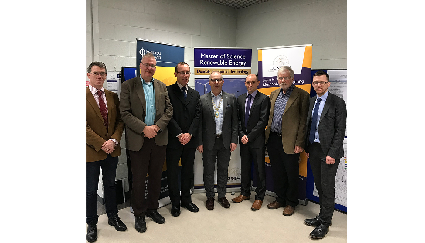 Pictured (L-R): Pat McCormick, Head of Department, Engineering, Trades and Civil Engineering at DkIT; Tom  Dooley, Head of School of Engineering, DkIT; Andrew Crowley,  Mechanical Engineer from Suretank; Barry Hyland, Chairman of Engineer's Ireland North East region and Engineer with SQS; Andrew Crowley, Mechanical Engineer from Suretank; Sean McCarthy, Electrical and Electronic Engineer and Project Management Consultant; with Gareth Kelly, DkIT lecturer, Civil & Environmental Engineering.
