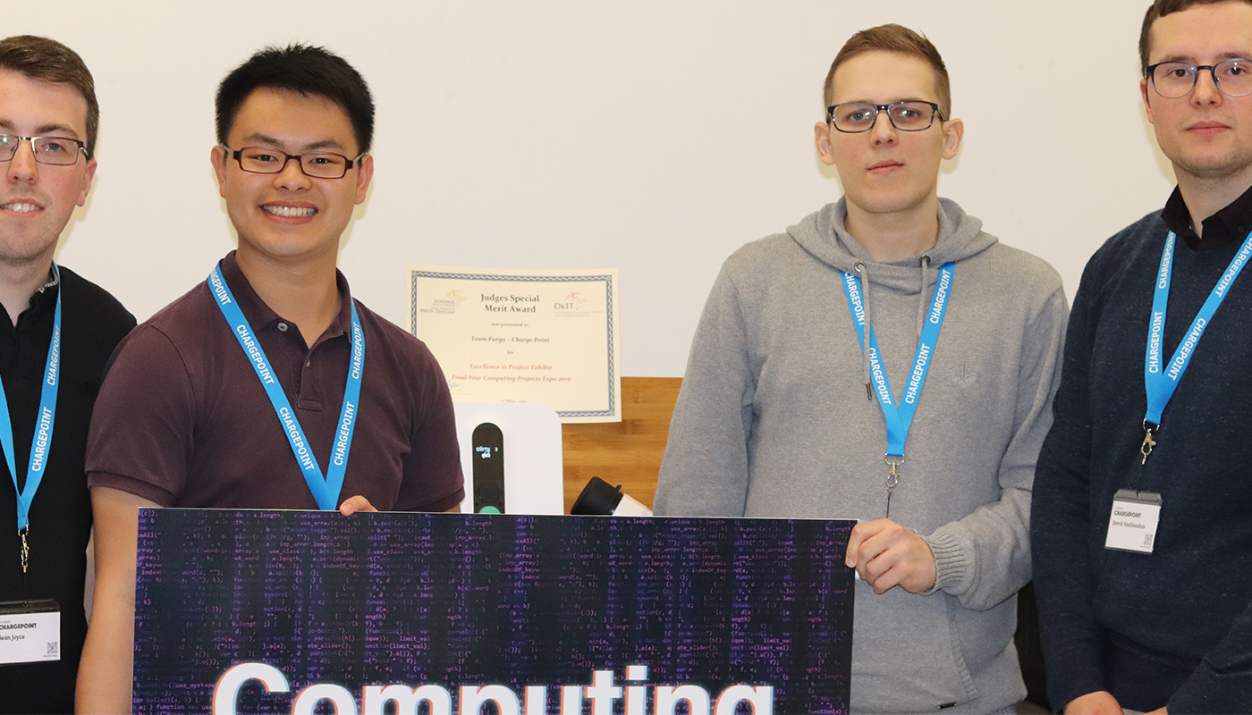 Pictured Left to Right: BSc Hons in Computing students Sean Joyce, Lucas Tan, Martin Malinowski and David Vasiliauskas