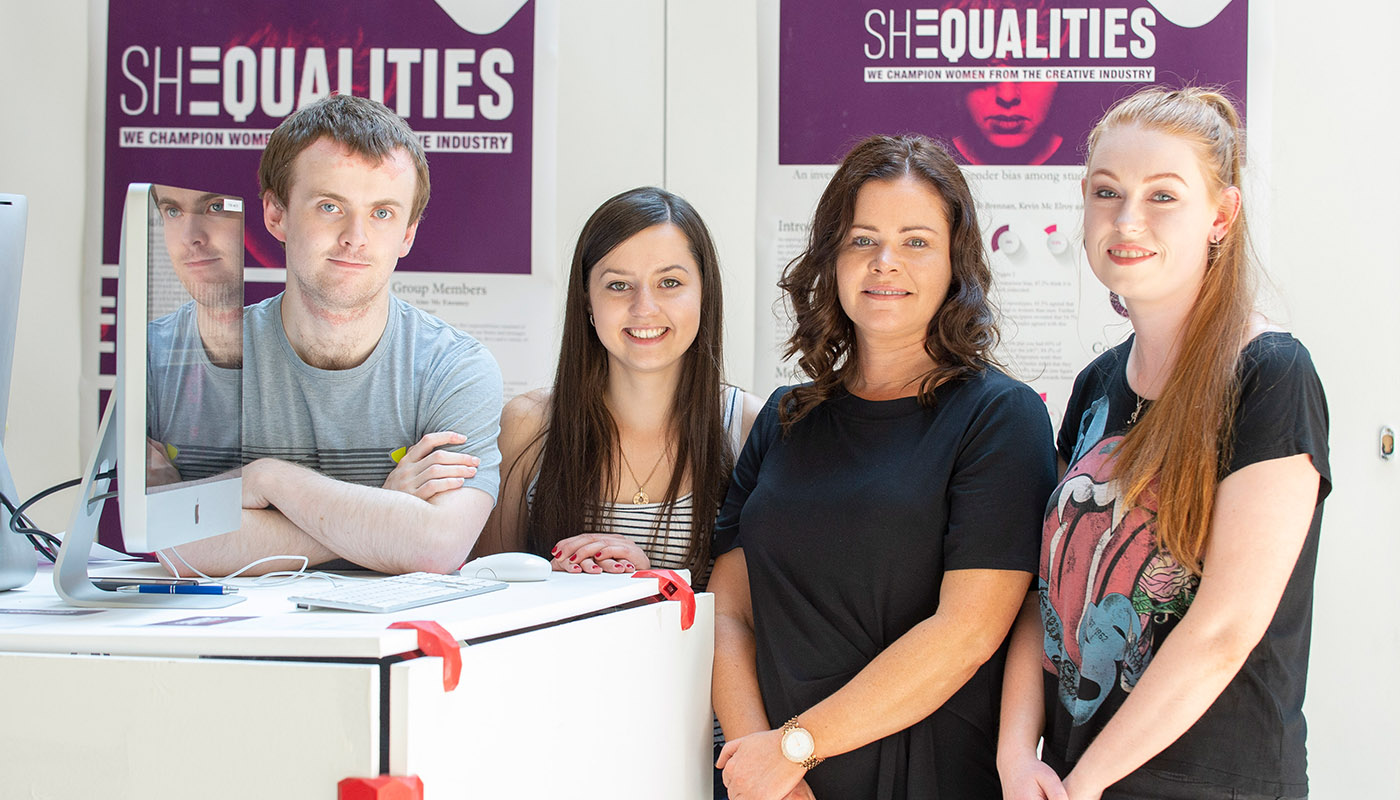 4th Year DkIT Creative Media, Kevin McElroy, Stephanie Hayes, Aine McEneaney and Aoife Brennan of the SHEqualities project at Fís 2018.