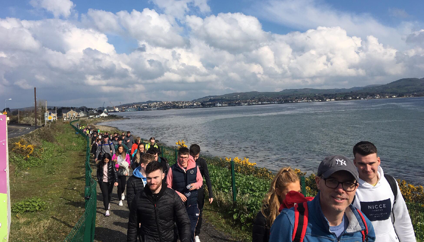 Students and staff taking part in the sponsored walk for SHINE