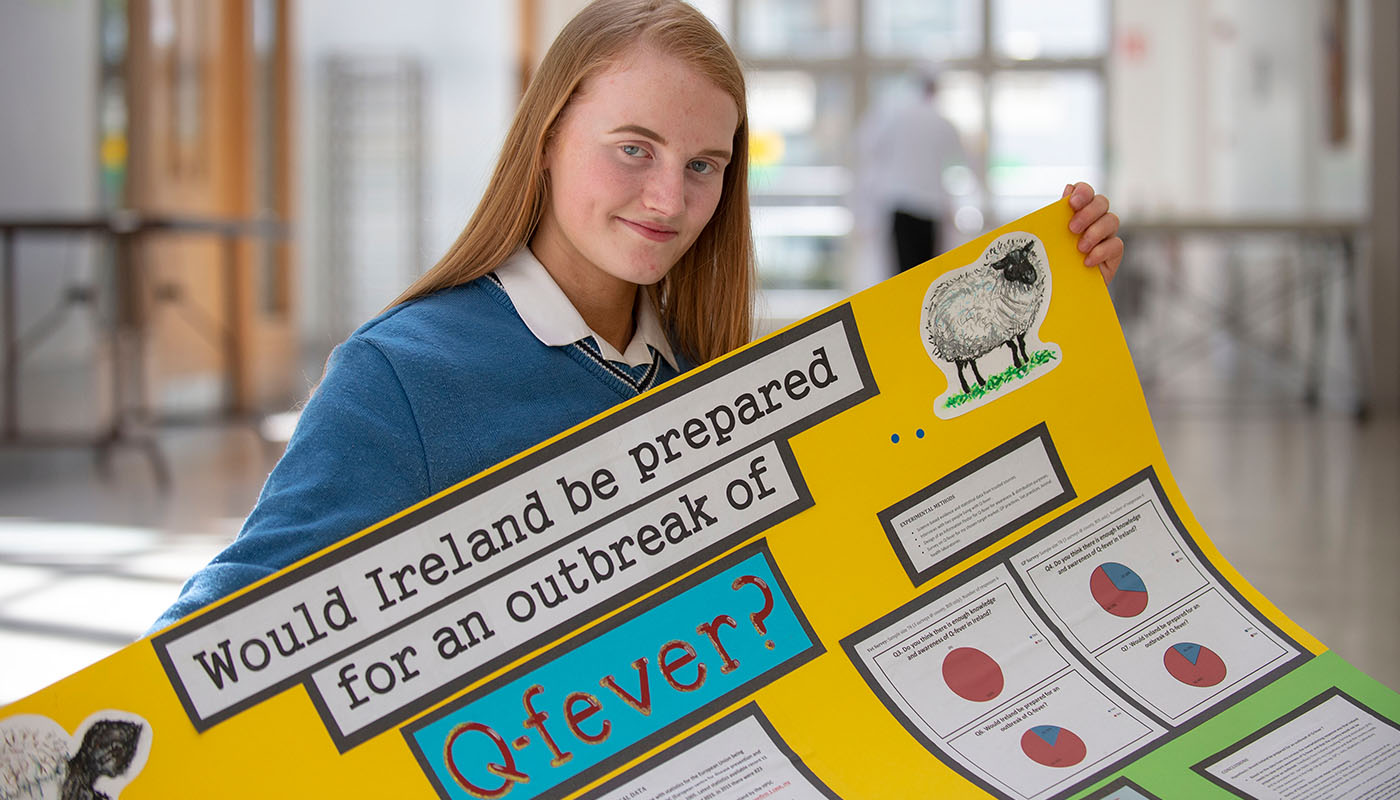 Transition year student, Laura Martin from Scoil Mhuire, Trim with her project, 'Would Ireland be prepared for an outbreak of Q-fever?' at SciFest@DkIT 2018.