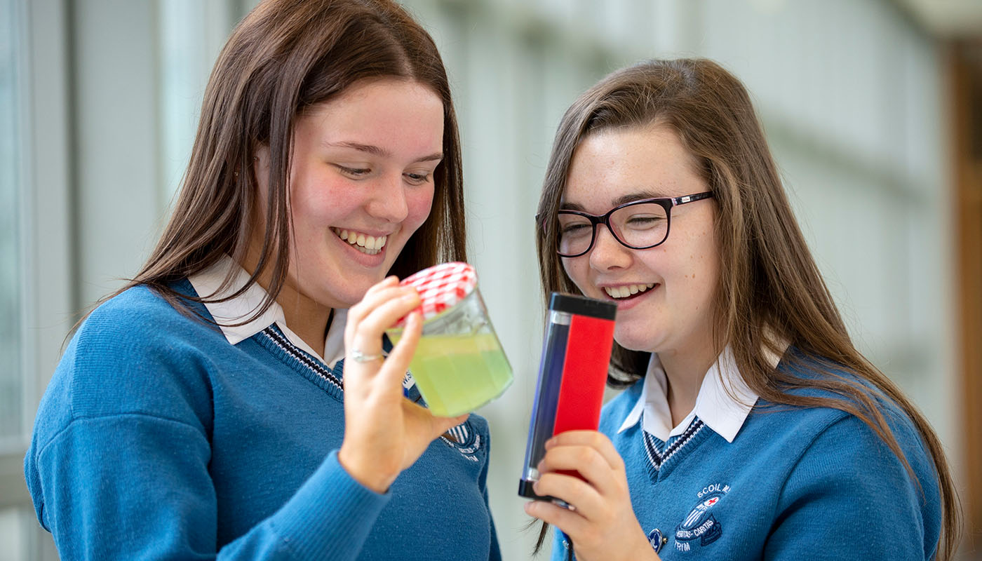 Transition Year students Ella O'Byrne and Keely Burke of Scoil Mhuire, Trim investigate the extent of micro-plastics in the water in county Meath at SciFest@DkIT 2018