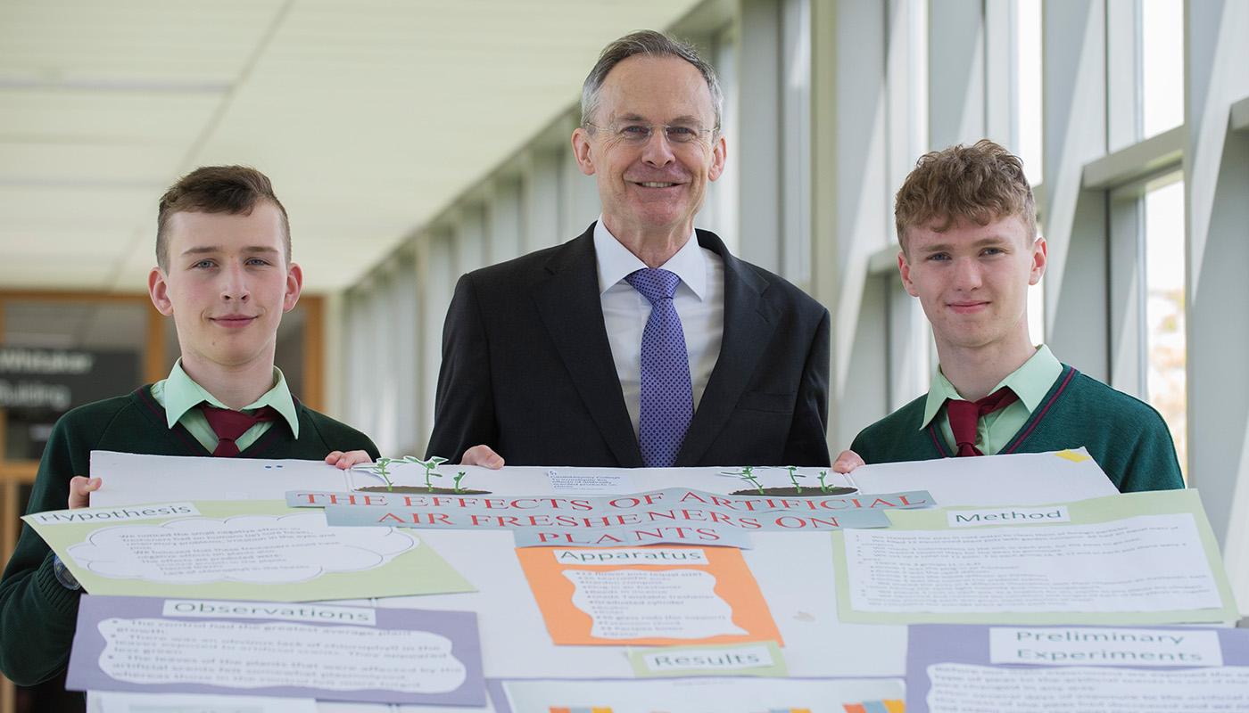 Transition Year students Jack McElroy and Caleb McArdle from Castleblayney College with DkIT President, Dr. Michael Mulvey at SciFest@DkIT 2018.