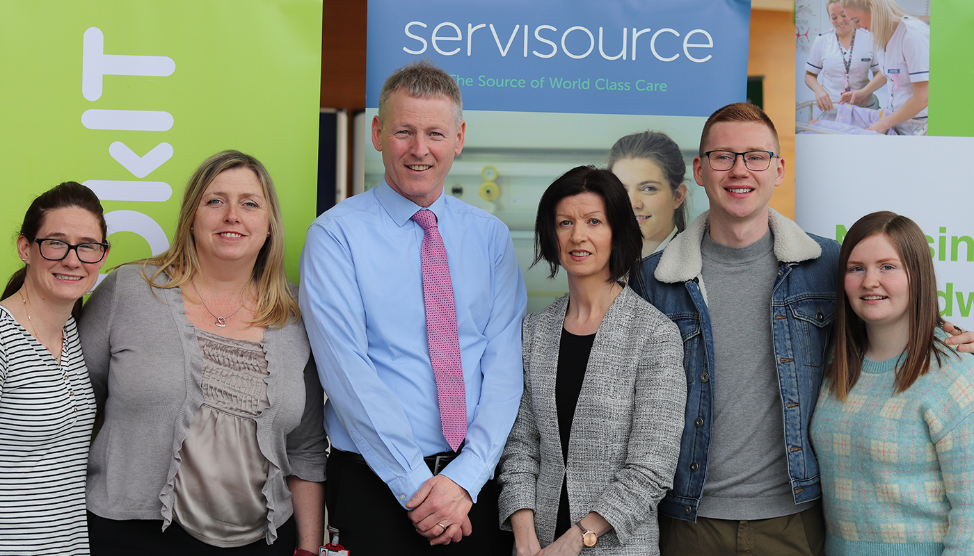 DkIT-Servisource Scholarship winners with Myles Hackett, Head of Department of Nursing, Midwifery and Health Studies at DkIT and Sinead Kieran, Marketing Manager at Servisource