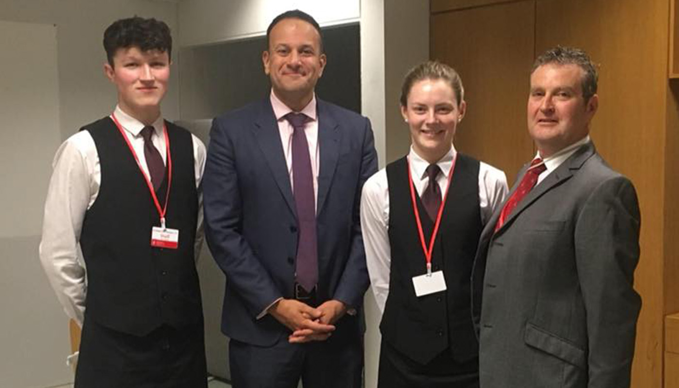 DkIT Hospitality students with An Taoiseach, Leo Varadkar, TD at the All Island Civic Dialogue on Brexit in DkIT, 30th April 2018