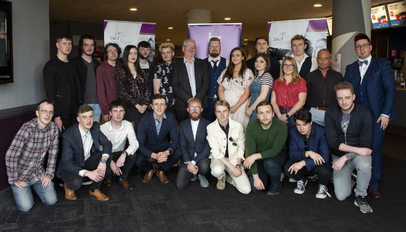 3rd year BA (Hons) Film & Television Production students pictured with Dr. Bob McKiernan, Head of School of Informatics & Creative Arts, DkIT and Lorcan Dunne, BA (Hons) Film & TV Production lecturer