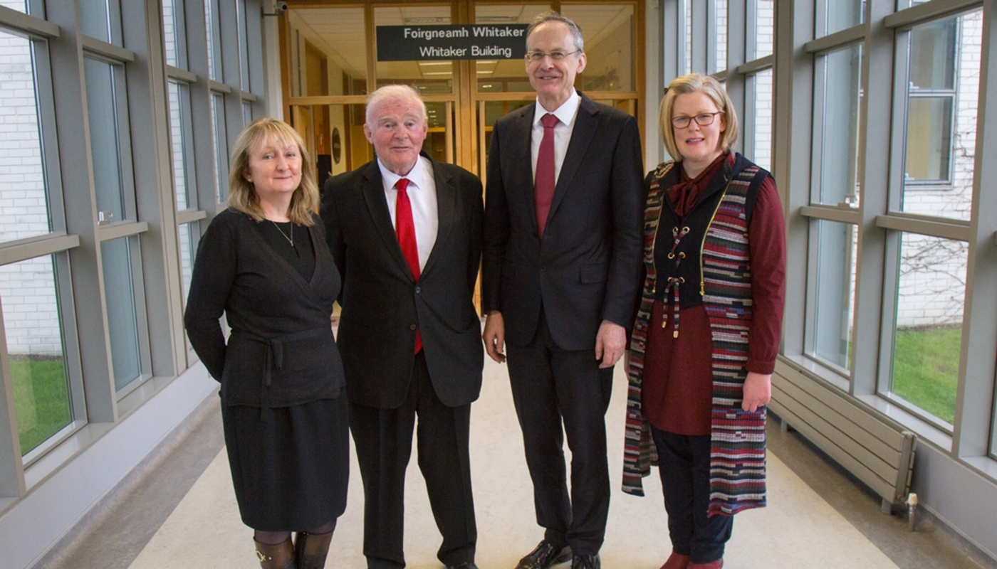 DkIT Staff with John Teeling as part of the Entrepreneurship Lecture Series 2018 (R-L: Dr. Colette Henry, Head of Department of Business Studies; John Teeling; Dr. Michael Mulvey, DkIT President; Angela Hamoud, Business Lecturer)