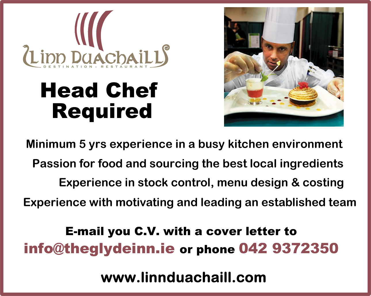 head chef cover letters
