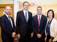 [From left] Aidan Browne, Innovation and Business Development Manager at DkIT; Dr. Michael Mulvey, President of DkIT; Sean King, Financial Controller at APB Ireland Clones and Catherine Staunton, Head of Careers & Employability at DkIT at the ABP stand at