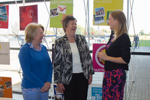 Martha Hogan and Ann Ward of the Older People's Forum speaking to Minister for Older People, Helen McEntee TD at the launch of the strategic partnership between Netwell CASALA and ALONE at DkIT campus on Friday, 5 May 2017.